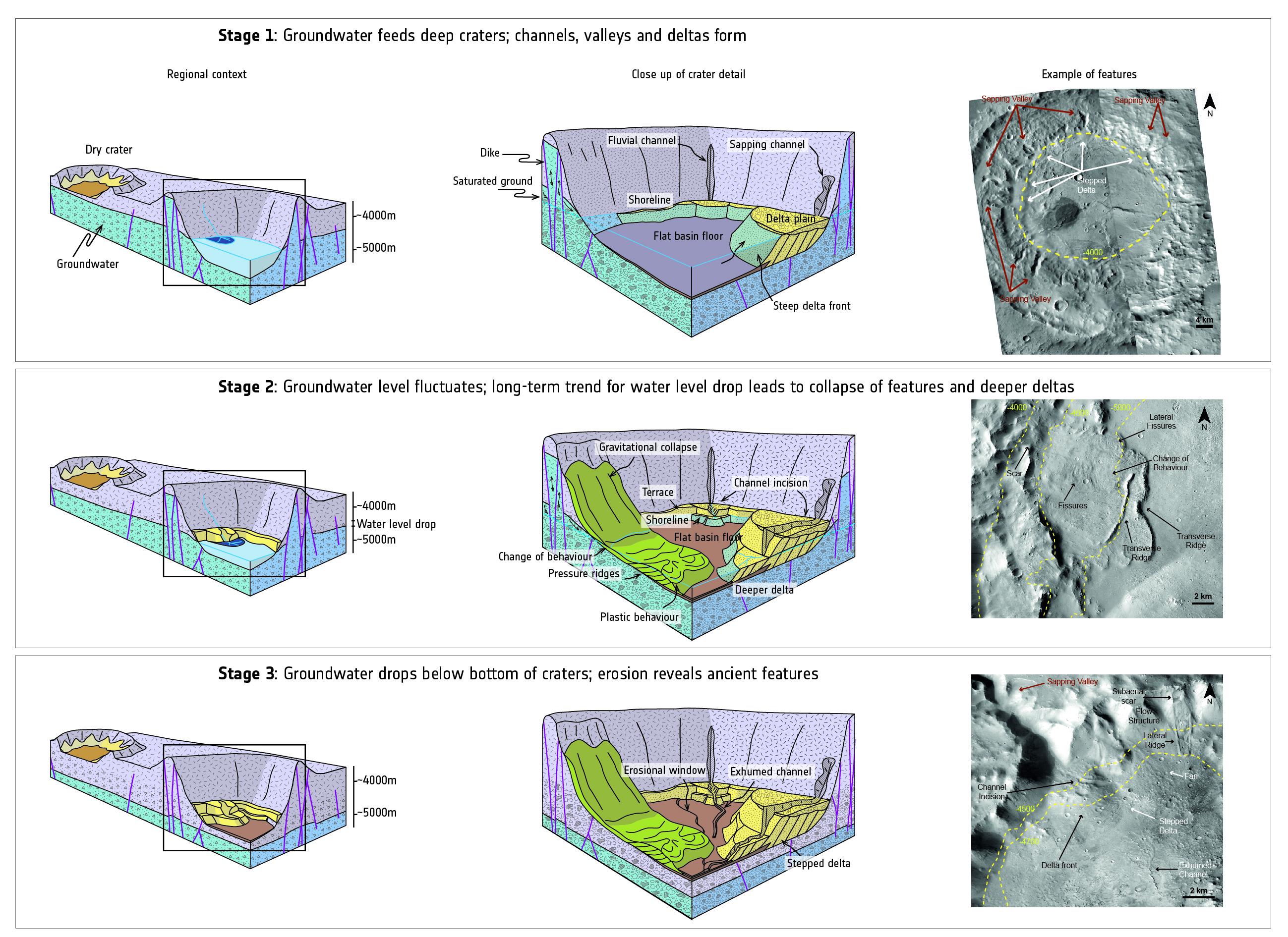 Grafische Darstellung der drei Hauptphasen der Veränderung einst wassertragender Kraterbecken auf dem Mars: Zunächst wird das Kraterbecken mit Wasser geflutet und es entstehen erste, mit Wasser in Verbindung stehende Merkmale wie Deltas, Täler, Kanäle und Küstenlinien (oben). In Phase zwei sinkt der globale Wasserspiegel, wodurch neue Landformen hervortreten (mittig). Schlussendlich trocknet der Kratergrund gänzlich aus und erodiert, wodurch Merkmale, die zuvor über Jahrmillionen entstanden sind, sichtbar werden (unten). Copyright: NASA/JPL-Caltech/MSSS; Diagramm angepasst von F. Salese et al. (2019)