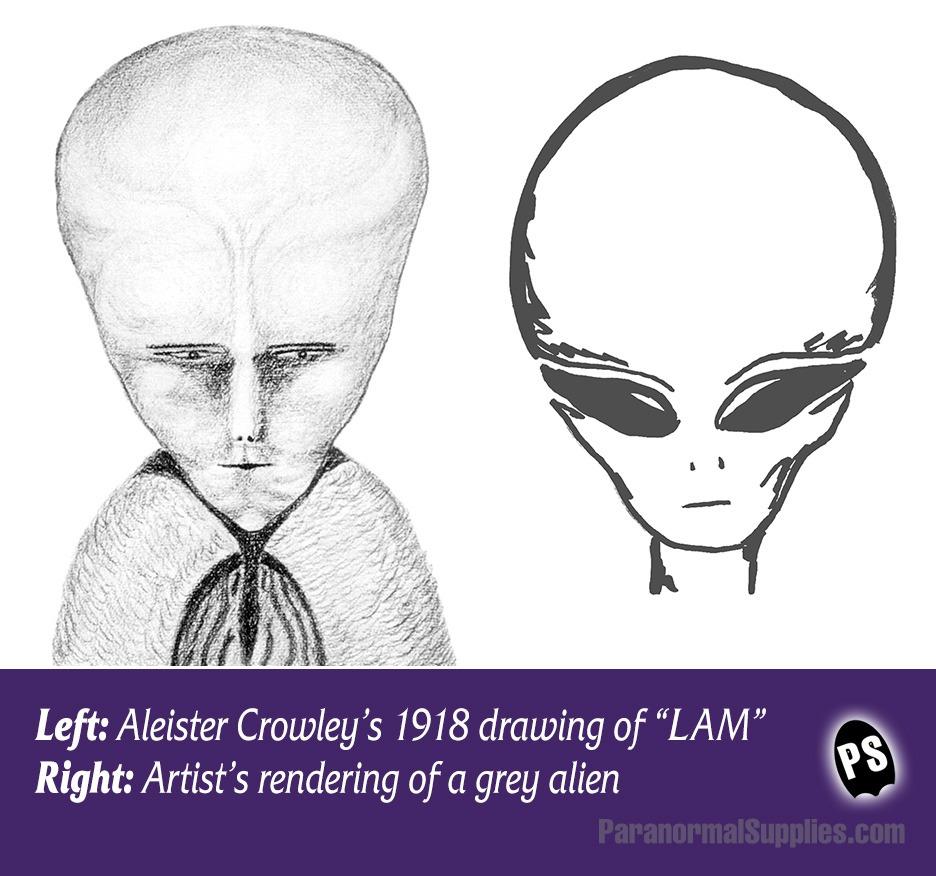 """Crowleys """"entkörpertes Wesen"""" im Vergleich mt einem Außerirdischen."""